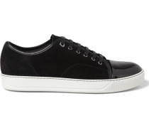 Cap-toe Suede And Patent-leather Sneakers - Black