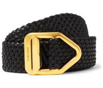 3cm Woven Leather Belt - Black