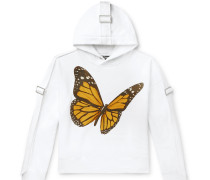 Oversized Canvas-Trimmed Printed Cotton-Jersey Hoodie
