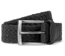 4cm Black Woven Leather Belt