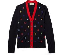 Slim-fit Intarsia Wool Cardigan
