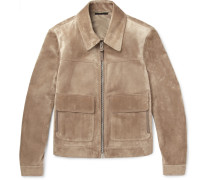 Suede Blouson Jacket - Tan