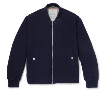 Wool And Cashmere-blend Bomber Jacket - Navy