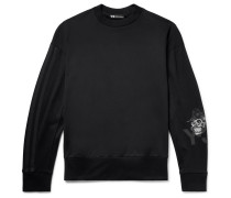 Webbing-trimmed Embroidered Printed Loopback Cotton-jersey Sweatshirt - Black