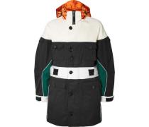 Colour-block Satin And Neoprene-trimmed Gabardine Hooded Coat