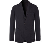 Midnight-blue Slim-fit Unstructured Shell Blazer - Midnight blue