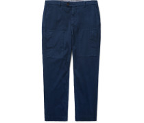 Tapered Cotton-blend Trousers - Navy