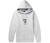 Embroidered Fleece-back Jersey Hoodie