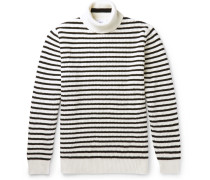 Striped Ribbed-knit Rollneck Sweater