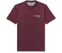 Contrast-trimmed Cotton-jersey T-shirt - Burgundy