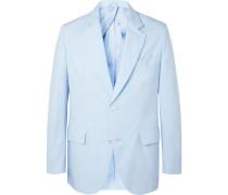Sky-blue Unstructured Cotton-poplin Suit Jacket - Blue