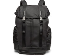 Leather-trimmed Ripstop Backpack - Black