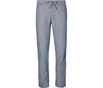 Slim-fit Striped Linen Drawstring Trousers