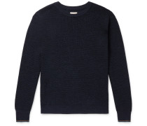 Contrast-Tipped Waffle-Knit Wool Sweater
