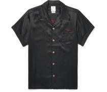 Irving Camp-collar Embroidered Satin Shirt