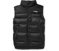 7 Moncler Fragment Abene Quilted Printed Shell Down Gilet - Black