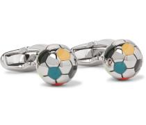 Football Enamelled Silver-tone Cufflinks