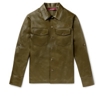 Leather Overshirt - Army green