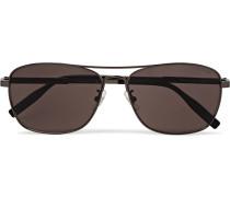 Aviator-style Gunmetal-tone Polarised Sunglasses - Silver