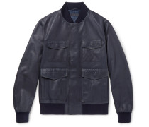 Leather Blouson Jacket - Navy