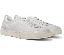 Lars Tumbled Distressed Suede Sneakers - White