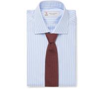 Light-Blue Slim-Fit Striped Cotton-Poplin Shirt