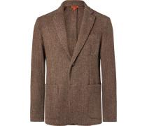 Brown Slim-Fit Unstructured Herringbone Virgin Wool-Blend Blazer