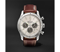 Navitimer 8 B01 Chronograph 43mm Stainless Steel and Leather Watch, Ref. No. AB01171A1G1X1
