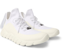 Coated-mesh High-top Sneakers - White