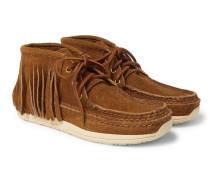 Voyageur Shaman Fringed Suede Boots - Camel