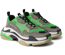 Triple S Mesh, Nubuck And Leather Sneakers - Green
