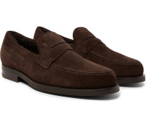 Shearling-lined Suede Penny Loafers