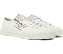 Suede-Trimmed Logo-Print Canvas Sneakers