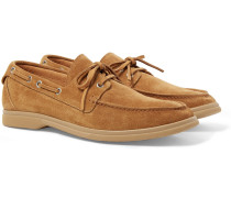 Suede Boat Shoes - Tan
