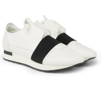 Race Runner Leather, Neoprene, Suede And Mesh Sneakers - White