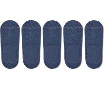 Five-Pack Invisible Touch Pima Cotton-Blend No-Show Socks