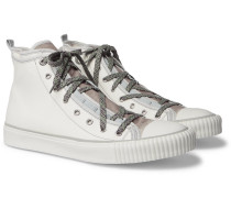 Canvas And Velvet High-top Sneakers - White