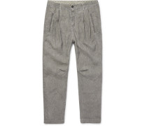 Watercolour-dyed Striped Linen Trousers