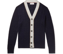 Striped Cable-Knit Linen and Cotton-Blend Cardigan