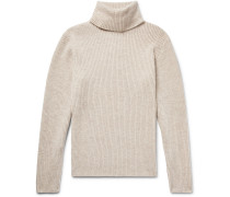 Slim-fit Mélange Merino Wool And Cashmere-blend Rollneck Sweater - Cream