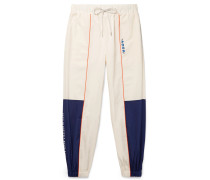 + Ader Error Tapered Logo-embroidered Piped Shell Track Pants - White