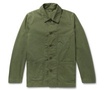Garment-washed Cotton-twill Field Jacket - Army green