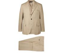 Stone Emile Slim-fit Unstructured Linen Suit - Beige