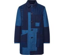 Patchwork Sashiko-stitched Indigo-dyed Cotton Chore Jacket - Indigo