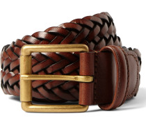 3.5cm Brown Woven Leather Belt - Brown