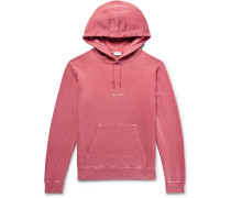 Logo-print Distressed Loopback Cotton-jersey Hoodie - Pink