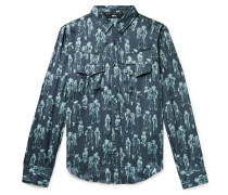 Slim-Fit Printed Satin Western Shirt