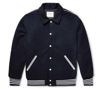 Appliquéd Wool-fleece Bomber Jacket