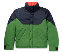 Reversible Colour-block Nylon, Canvas And Quilted-shell Down Jacket