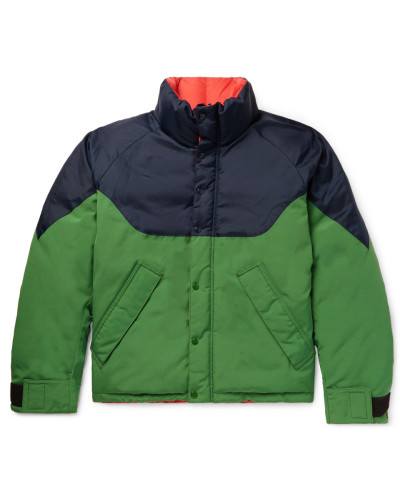 Reversible Colour-block Nylon, Canvas And Quilted-shell Down Jacket - Green